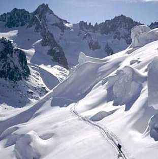 La station de ski Argentière (ski col du Mont-Blanc), France